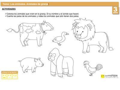 Animales de la granja. Ejercicio escolar sobre la naturaleza