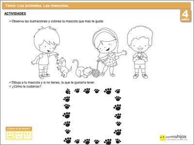 Fichas escolares de animales. Las mascotas