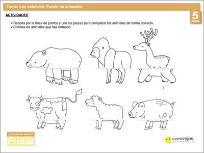 Puzzle de animales. Ficha de conocimiento del entorno