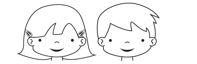 Caras felices de niños para colorear - Imagui