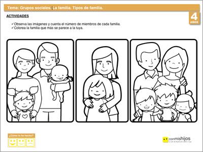 Tipos de familia fichas escolares de vida en sociedad for Concepto de familia pdf