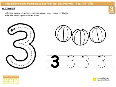 El Número Tres Fichas Escolares De Matemáticas Para Niños