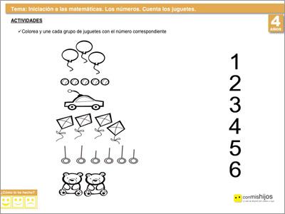 Contar los juguetes. Ficha de matemáticas para niños
