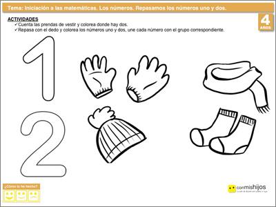 Repasar los números uno y dos. Ejercicio de los números para niños