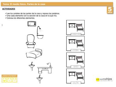 Partes y objetos de la casa. Ficha escolar para conocer el entorno