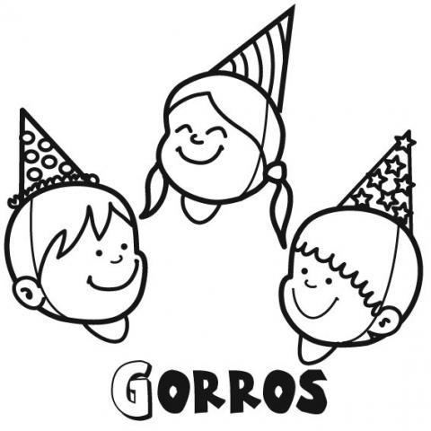 Dibujos de Gorros para niños para colorear