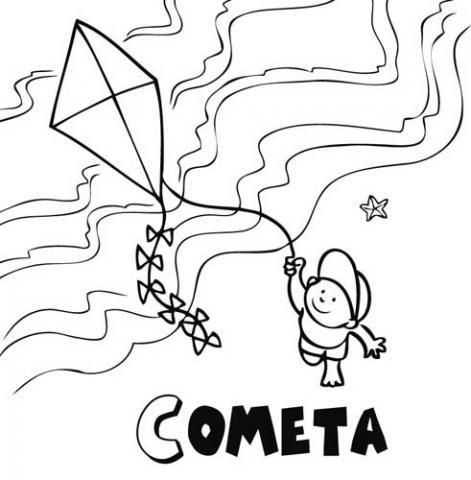 Dibujos para colorear de niños elevando cometas - Imagui