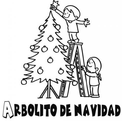 Imprimir dibujos para colorear : Niños decorando el árbol