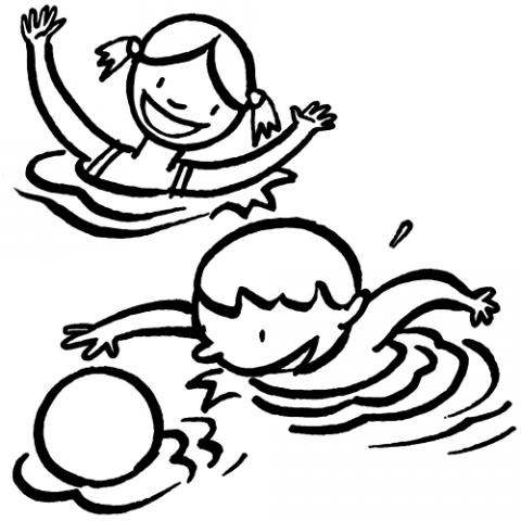 Dibujos de Niños en la piscina jugando a la pelota para colorear