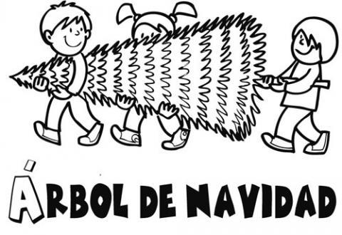 Imprimir dibujos para colorear : Niños llevando árbol de Navidad
