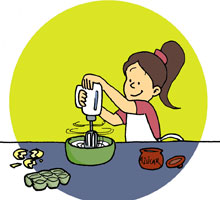 Magdalenas al chocolate postre cl sico para cocinar con ni os for Cocinar imagenes animadas