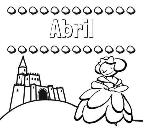 Nombre Abril Dibujos Para Colorear Su Nombre Y Una Princesa