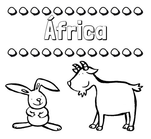 Nombre África: Dibujos para niños: su nombre con animales