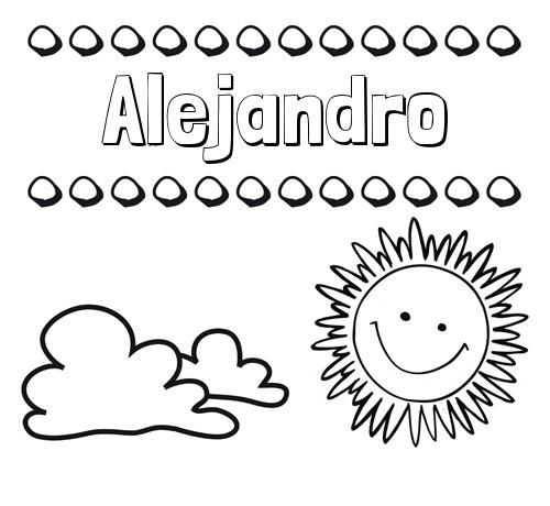 Nombre Alejandro: Dibujo de nombres en el cielo para pintar