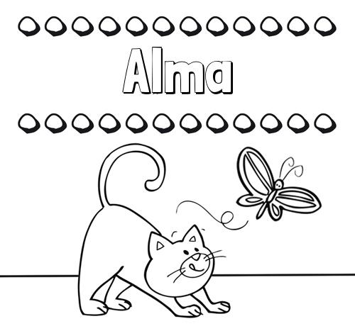 Nombre Alma: Colorear Un Dibujo Con Nombre, Gato Y Mariposa