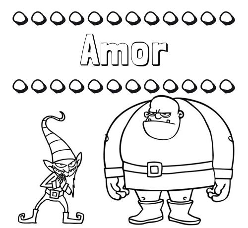 Nombre Amor: Aprender a colorear su nombre, un ogro y un duende
