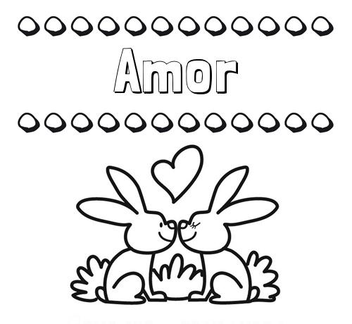 Nombre Amor: Colorear las letras de los nombres con conejitos