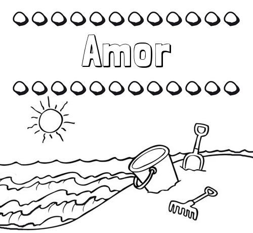 Nombre Amor: Nombres en la playa: dibujos para colorear
