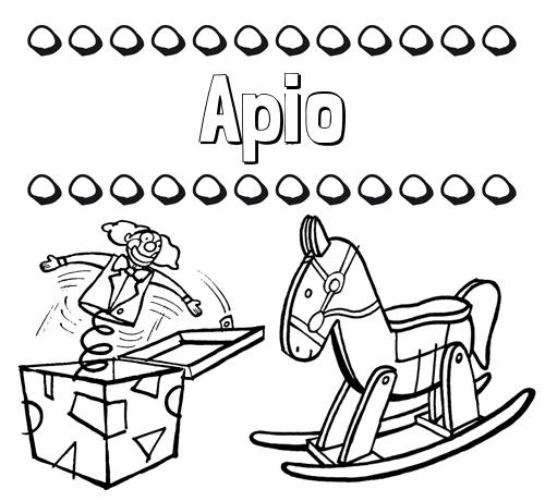 Nombre Apio: Colorear los nombres: dibujo con juguetes
