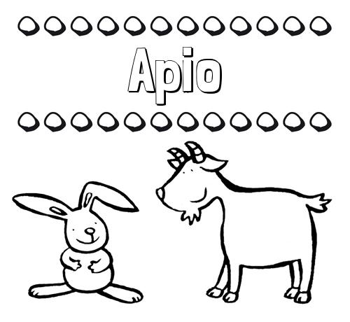 Nombre Apio: Dibujos para niños: su nombre con animales