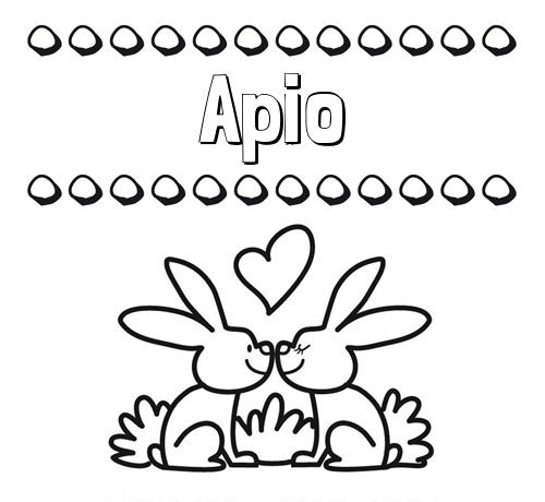 Nombre Apio: Colorear las letras de los nombres con conejitos