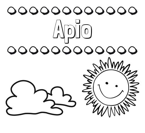 Nombre Apio: Dibujo de nombres en el cielo para pintar