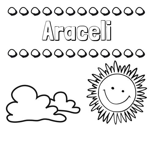 Nombre Araceli: Dibujo de nombres en el cielo para pintar