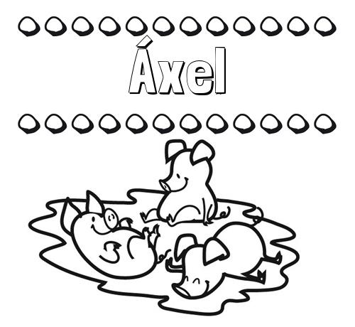 Nombre áxel Dibujos Para Colorear Nombres Y Los Tres Cerditos