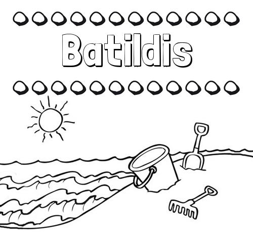 Nombre Batildis: Nombres en la playa: dibujos para colorear