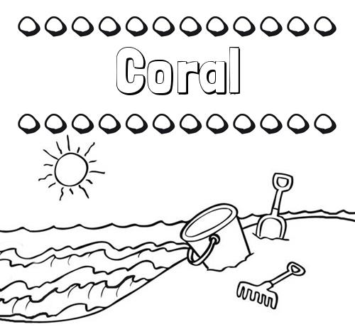 Nombre Coral Nombres en la playa dibujos para colorear