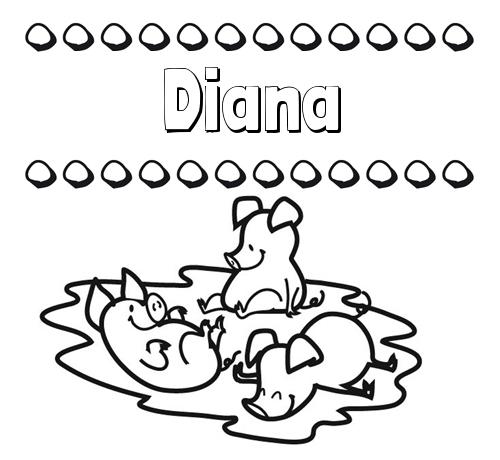 Nombre Diana Dibujos Para Colorear Nombres Y Los Tres Cerditos