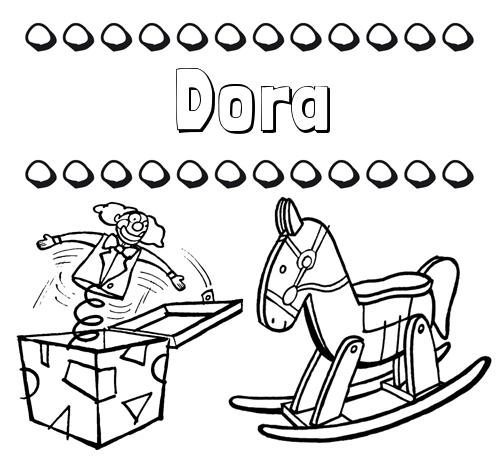 Nombre Dora: Colorear los nombres: dibujo con juguetes