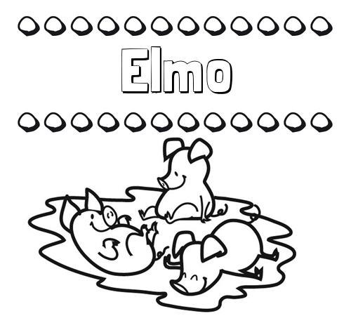 Nombre Elmo: Dibujos para colorear: nombres y los tres cerditos