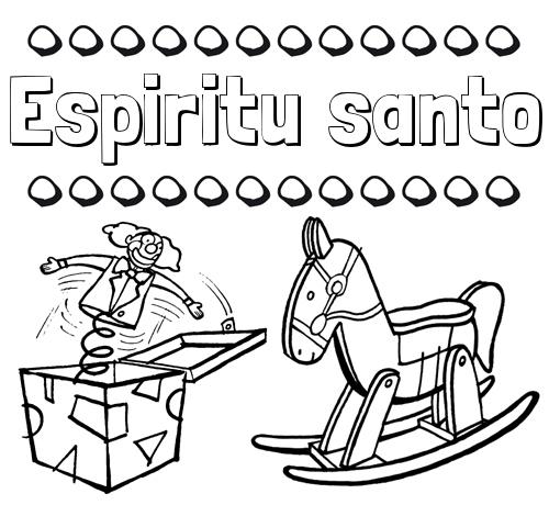 Nombre Espiritu santo: Colorear los nombres: dibujo con juguetes