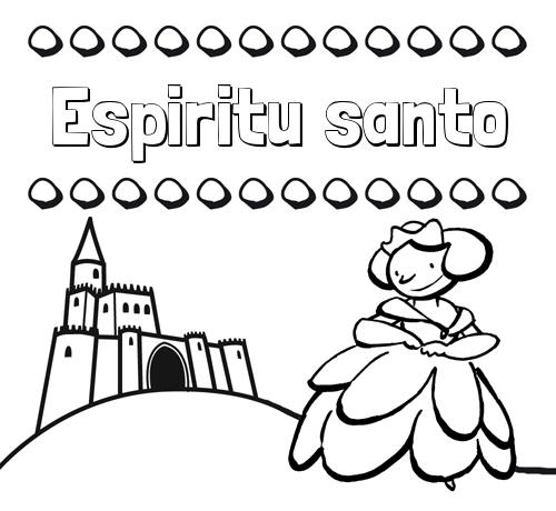 Nombre Espiritu santo: Dibujos para colorear su nombre y una princesa