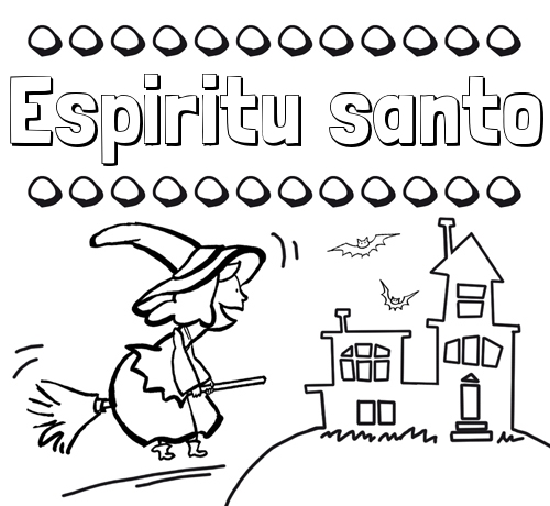 Nombre Espiritu santo: Colorear e imprimir nombres: dibujo de bruja