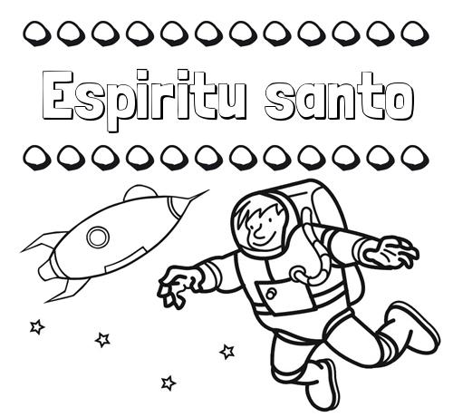 Nombre Espiritu santo: Dibujo de nombres en el espacio para imprimir