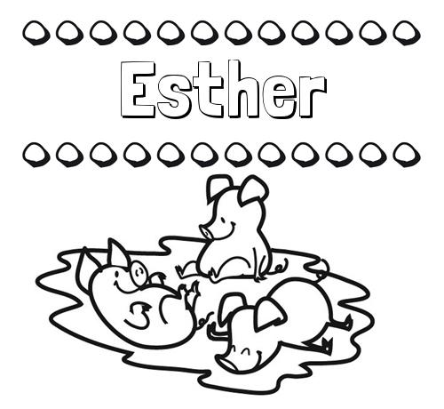 Nombre Esther: Dibujos para colorear: nombres y los tres cerditos