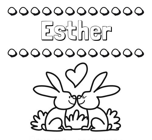 Nombre Esther: Colorear las letras de los nombres con conejitos