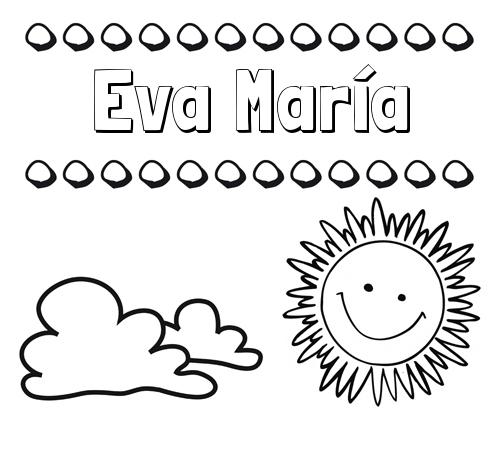 Nombre Eva María: Dibujo de nombres en el cielo para pintar