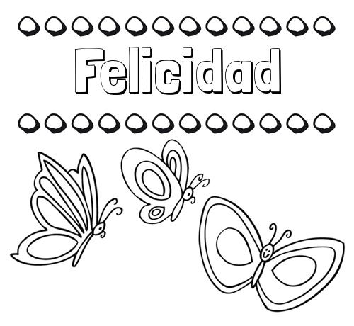 Nombre Felicidad: Imprimir un dibujo para colorear de nombres y ...