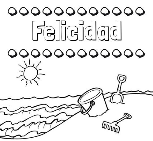 Nombre Felicidad: Nombres en la playa: dibujos para colorear