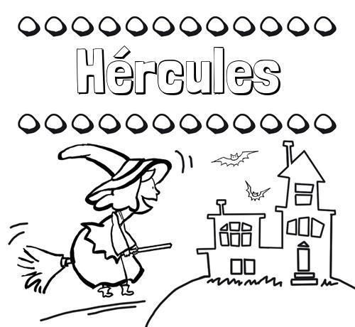 Nombre Hércules: Colorear e imprimir nombres: dibujo de bruja