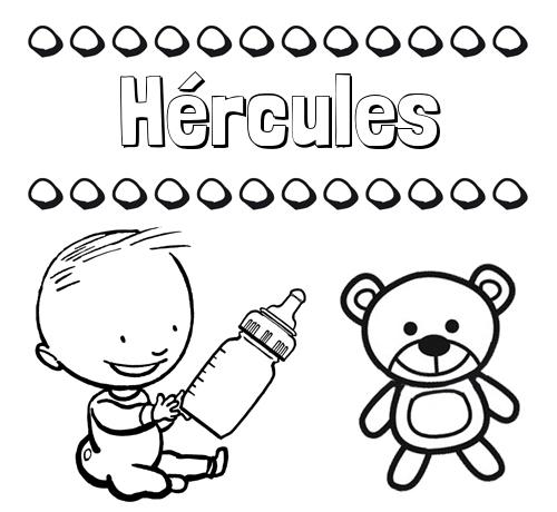 Nombre Hércules: Divertidos dibujos de nombres: peluche y bebé