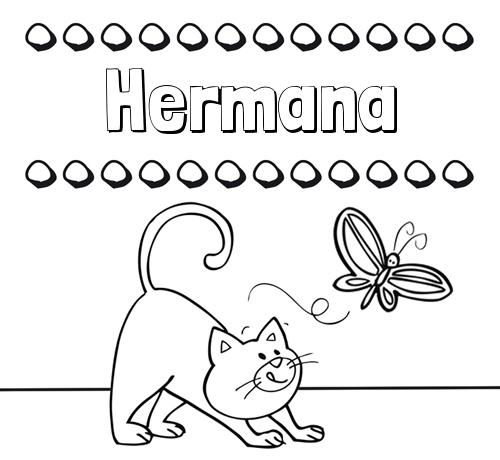 Nombre Hermana Colorear Un Dibujo Con Nombre Gato Y Mariposa