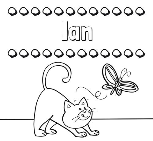 Nombre Ian Colorear Un Dibujo Con Nombre Gato Y Mariposa