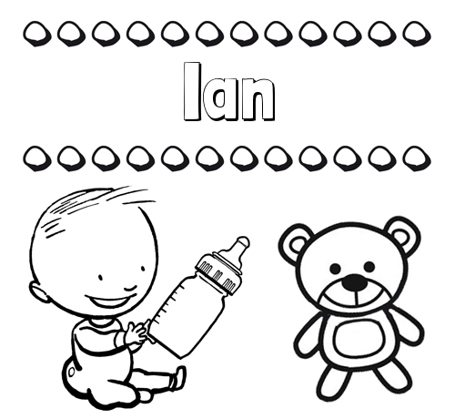 Nombre Ian: Divertidos dibujos de nombres: peluche y bebé