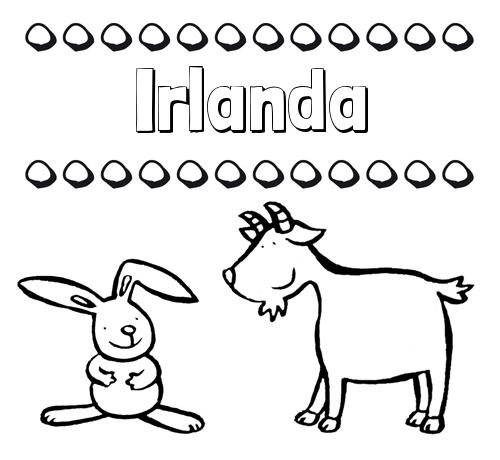 Nombre Irlanda: Dibujos para niños: su nombre con animales
