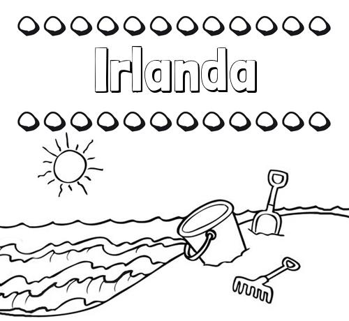Nombre Irlanda: Nombres en la playa: dibujos para colorear