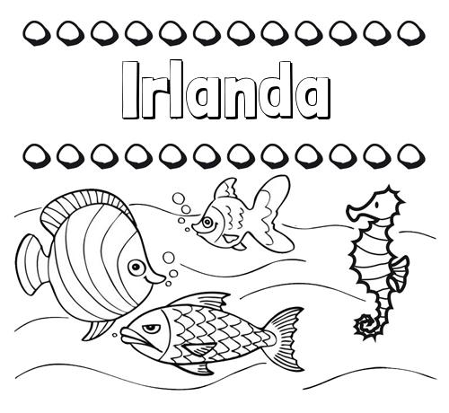 Nombre Irlanda: Peces: dibujos de nombres para pintar